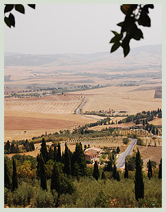 View of the Val D'Orcia from Pienza